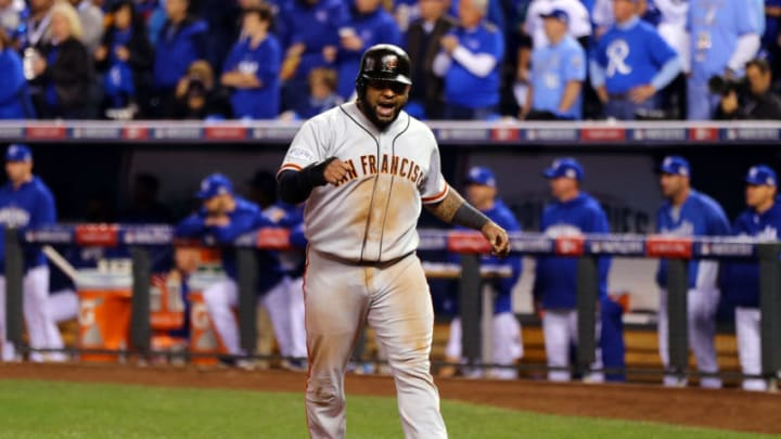 KANSAS CITY, MO - OCTOBER 29: Pablo Sandoval #48 of the San Francisco Giants reacts against the Kansas City Royals during Game Seven of the 2014 World Series at Kauffman Stadium on October 29, 2014 in Kansas City, Missouri. (Photo by Elsa/Getty Images)