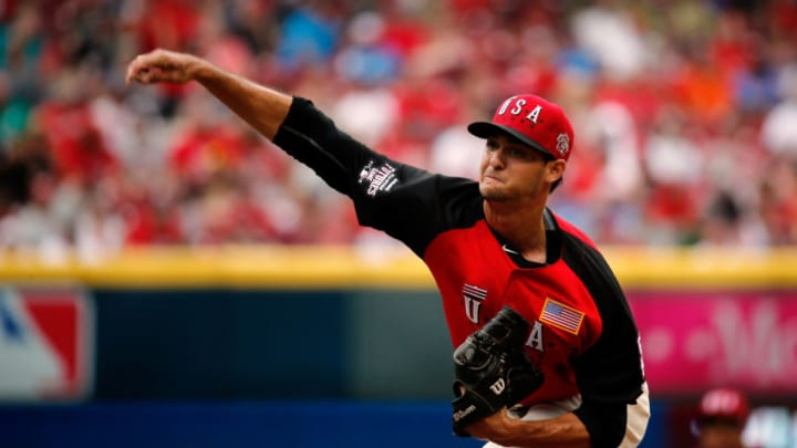 CINCINNATI, OH - JULY 12: Tyler Beede #11 of the U.S. Team throws a pitch against the World Team during the SiriusXM All-Star Futures Game at the Great American Ball Park on July 12, 2015 in Cincinnati, Ohio. (Photo by Rob Carr/Getty Images)
