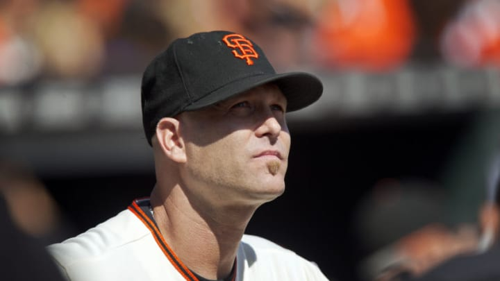SAN FRANCISCO, CA - OCTOBER 3: Pitcher Tim Hudson #17 of the San Francisco Giants watches his introduction during a ceremony to honor his retirement before a game against the Colorado Rockies at AT&T Park on October 3, 2015 in San Francisco, California. The Giants won 3-2. (Photo by Brian Bahr/Getty Images)