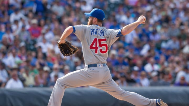 DENVER, CO - AUGUST 21: Spencer Patton #45 of the Chicago Cubs pitches against the Colorado Rockies during a game at Coors Field on August 21, 2016 in Denver, Colorado. (Photo by Dustin Bradford/Getty Images)