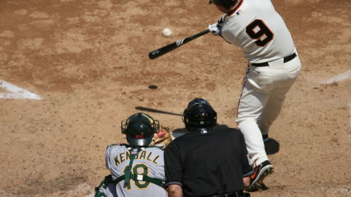 SAN FRANCISCO, CA - JUNE 24: Mark Sweeney of the San Francisco Giants bats during the game against the Oakland Athletics at AT&T Park in San Francisco, California on June 24, 2006. The Giants defeated the Athletics 8-7. (Photo by Brad Mangin/MLB Photos via Getty Images)