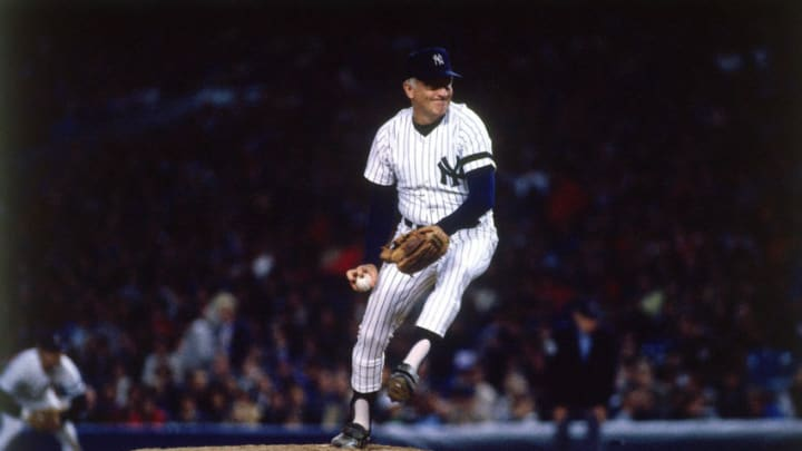 Pitcher Phil Niekro #35 of the New York Yankees pitches to the Toronto Blue Jays at Yankee Stadium during a season game on September 12, l985 in the Bronx, New York. The Blue Jays defeated the Yankees 3-2. (Photo by Ronald C. Modra/Getty Images)