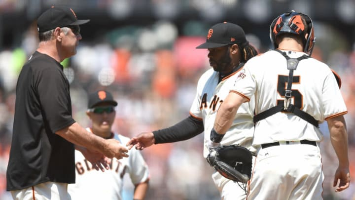 SAN FRANCISCO, CA - JULY 09: Manager Bruce Bochy #15 of the San Francisco Giants takes the ball from pitcher Johnny Cueto #47 taking him out of the game against the Miami Marlins in the top of the seventh inning at AT&T Park on July 9, 2017 in San Francisco, California. (Photo by Thearon W. Henderson/Getty Images)