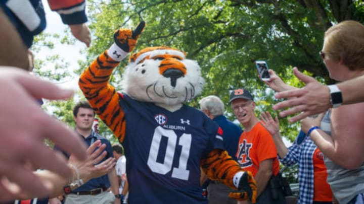 AUBURN, AL – SEPTEMBER 16: Mascot Aubie of the Auburn Tigers during their Tiger Walk prior to their game against the Mercer Bears at Jordan-Hare Stadium on September 16, 2017 in Auburn, Alabama. (Photo by Michael Chang/Getty Images)
