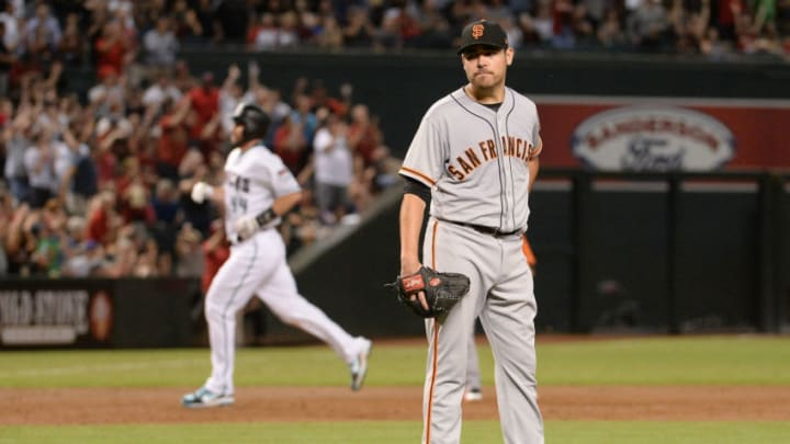 PHOENIX, AZ - SEPTEMBER 26: Matt Moore #45 of the San Francisco Giants reacts on the field after giving up a grand slam to J.D. Martinez (not pictured) in the second inning at Chase Field on September 26, 2017 in Phoenix, Arizona. (Photo by Jennifer Stewart/Getty Images)