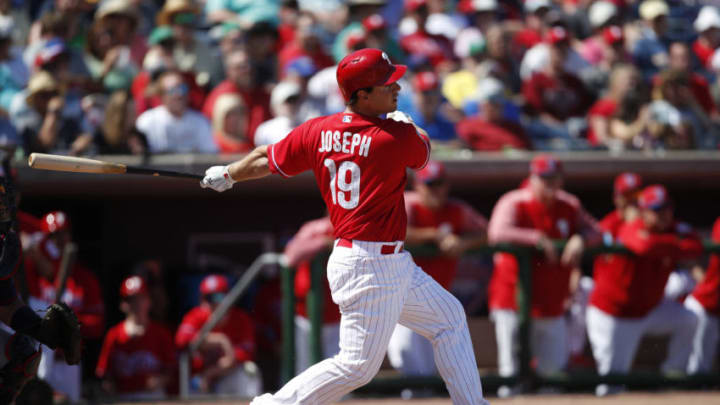 CLEARWATER, FL - MARCH 05: Tommy Joseph #19 of the Philadelphia Phillies make some contact at the plate during the Spring Training game against the Minnesota Twins at Spectrum Field on March 05, 2018 in Clearwater, Florida. (Photo by Mike McGinnis/Getty Images)