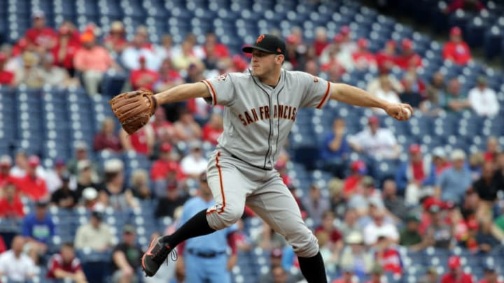 PHILADELPHIA, PA - MAY 10: Starting pitcher Ty Blach #50 of the San Francisco Giants throws a pitch in the first inning during a game against the Philadelphia Phillies at Citizens Bank Park on May 10, 2018 in Philadelphia, Pennsylvania. (Photo by Hunter Martin/Getty Images)