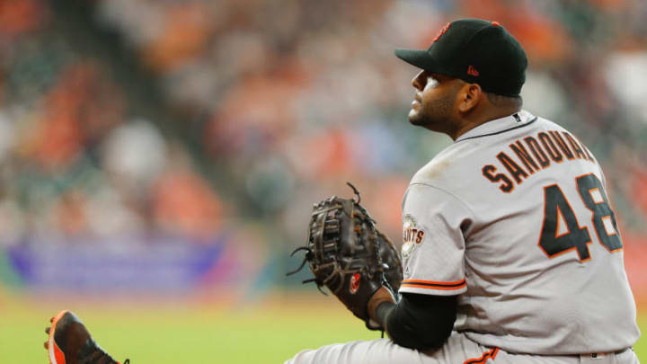 HOUSTON, TX - MAY 23: Pablo Sandoval #48 of the San Francisco Giants sits near first base after makeing a play in the eighth inning against the Houston Astros at Minute Maid Park on May 23, 2018 in Houston, Texas. (Photo by Bob Levey/Getty Images)