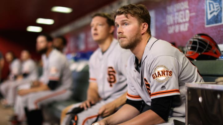 PHOENIX, AZ - JULY 01: Austin Slater #53 of the San Francisco Giants watches from the dugout during the sixth inning of the MLB game against the Arizona Diamondbacks at Chase Field on July 1, 2018 in Phoenix, Arizona. (Photo by Christian Petersen/Getty Images)