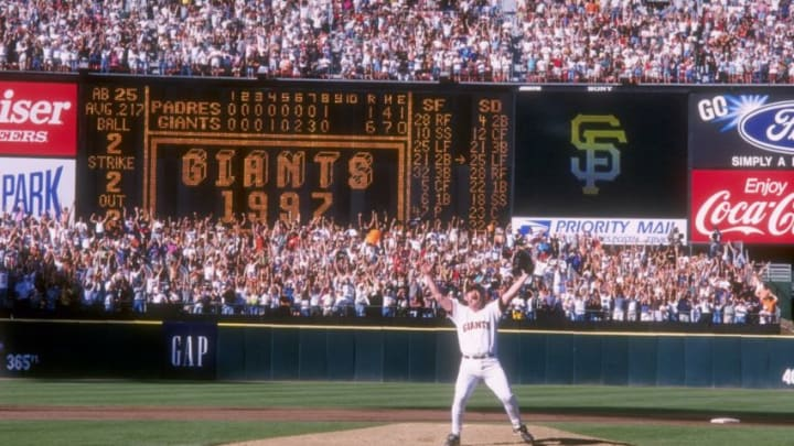 27 Sep 1997: Closer Rod Beck of the San Francisco Giants celebrates on the mound after the Giants 6-1 victory over the San Diego Padres at 3Com Park in San Francisco, California. The victory clinched the National League West title for the Giants and sent them to the postseason. Mandatory Credit: Otto Greule Jr. /Allsport