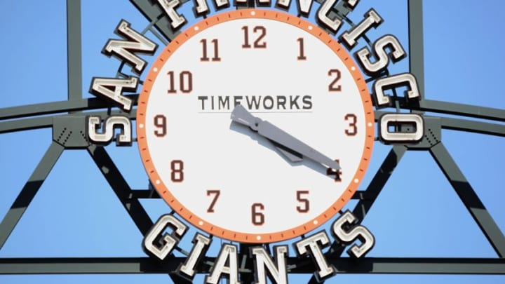 SAN FRANCISCO - JULY 3: A general view of the San Francisco Giants clock taken during the game against the Chicago Cubs during a Major League Baseball game on July 3, 2008 at AT