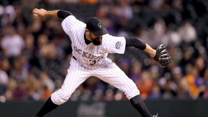 DENVER, CO - AUGUST 05: Pitcher Pat Neshek #37 of the Colorado Rockies throws in the ninth inning against the Philadelphia Phillies at Coors Field on August 5, 2017 in Denver, Colorado. (Photo by Matthew Stockman/Getty Images)