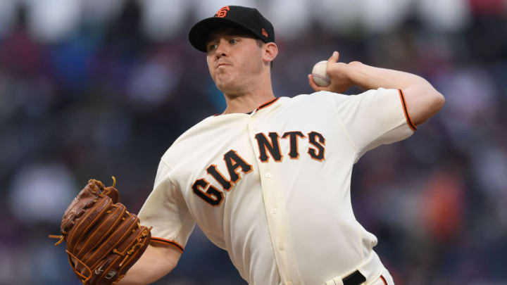 SAN FRANCISCO, CA - AUGUST 08: Ty Blach #50 of the San Francisco Giants pitches against the Chicago Cubs in the top of the first inning at AT&T Park on August 8, 2017 in San Francisco, California. (Photo by Thearon W. Henderson/Getty Images)