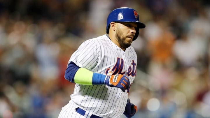 NEW YORK, NY - AUGUST 16: Rene Rivera #44 of the New York Mets rounds the bases after he hit a solo home run in the fifth inning against the New York Yankees during interleague play on August 16, 2017 at Citi Field in the Flushing neighborhood of the Queens borough of New York City. (Photo by Elsa/Getty Images)