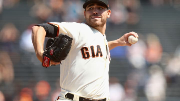 SAN FRANCISCO, CA - AUGUST 23: Matt Moore #45 of the San Francisco Giants pitches against the Milwaukee Brewers in the first inning at AT&T Park on August 23, 2017 in San Francisco, California. (Photo by Ezra Shaw/Getty Images)