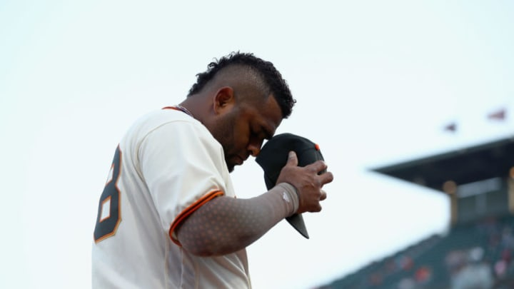 SAN FRANCISCO, CA - AUGUST 17: Pablo Sandoval #48 of the San Francisco Giants walks back into the dugout before their game against the Philadelphia Phillies at AT&T Park on August 17, 2017 in San Francisco, California. (Photo by Ezra Shaw/Getty Images)