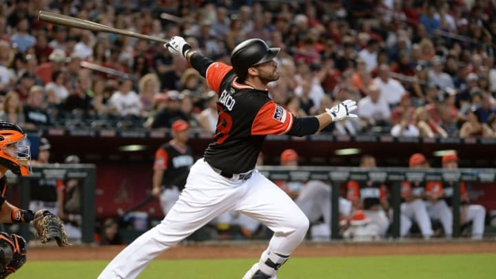 PHOENIX, AZ - AUGUST 27: J.D. Martinez #28 of the Arizona Diamondbacks wearing a nickname-bearing jersey hits a solo home run in the sixth inning against the San Francisco Giants at Chase Field on August 27, 2017 in Phoenix, Arizona. (Photo by Jennifer Stewart/Getty Images)
