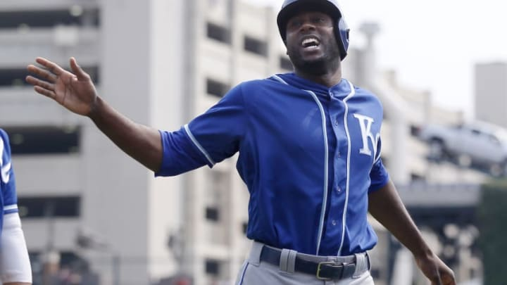 DETROIT, MI - SEPTEMBER 4: Lorenzo Cain #6 of the Kansas City Royals celebrates after scoring against the Detroit Tigers on a double by Melky Cabrera during the third inning at Comerica Park on September 4, 2017 in Detroit, Michigan. The Royals defeated the Tigers 7-6. (Photo by Duane Burleson/Getty Images)