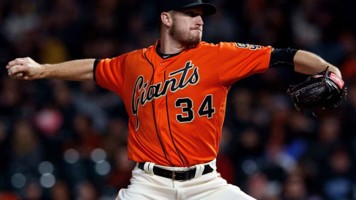 SAN FRANCISCO, CA - SEPTEMBER 29: Chris Stratton #34 of the San Francisco Giants pitches against the San Diego Padres during the first inning at AT&T Park on September 29, 2017 in San Francisco, California. (Photo by Jason O. Watson/Getty Images)