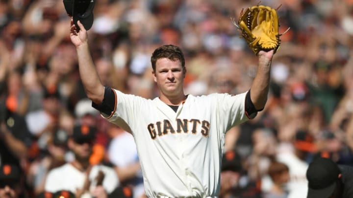SAN FRANCISCO, CA - SEPTEMBER 30: Matt Cain #18 of the San Francisco Giants waves to the fans showing gratitude leaving the game after the top of the fourth inning against the San Diego Padres at AT&T Park on September 30, 2017 in San Francisco, California. This was Cains last pitching performance as he is retiring at the end of the season. (Photo by Thearon W. Henderson/Getty Images)