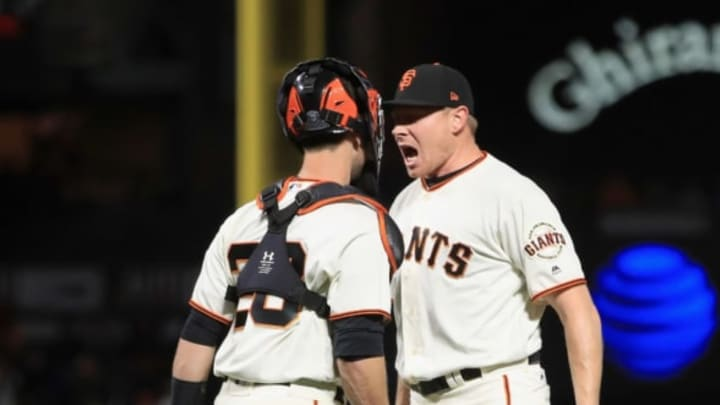 SAN FRANCISCO, CA – APRIL 24: Giants fans hope to see this image of Mark Melancon and catcher Buster Posey much more often in 2018. (Photo by Ezra Shaw/Getty Images)