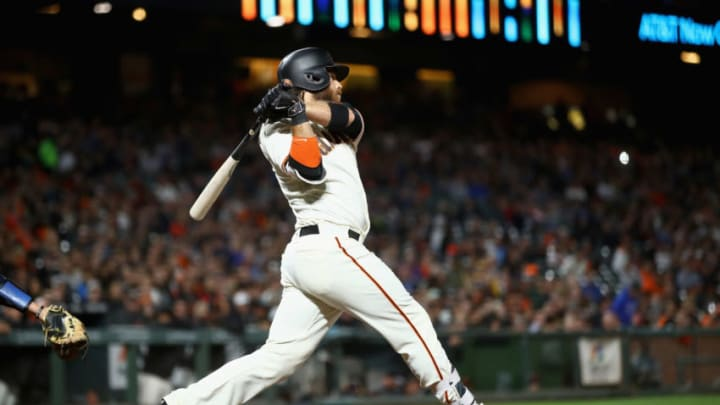 SAN FRANCISCO, CA - AUGUST 21: Brandon Crawford #35 of the San Francisco Giants hits a double that scored a run in the fourth inning against the Milwaukee Brewers at AT&T Park on August 21, 2017 in San Francisco, California. (Photo by Ezra Shaw/Getty Images)