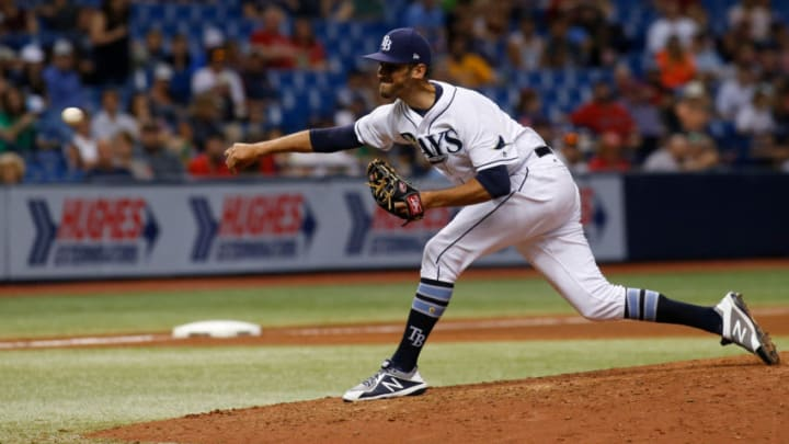 ST. PETERSBURG, FL - SEPTEMBER 15: Pitcher Steve Cishek #33 of the Tampa Bay Rays pitches during the seventh inning of a game against the Boston Red Sox on September 15, 2017 at Tropicana Field in St. Petersburg, Florida. (Photo by Brian Blanco/Getty Images)