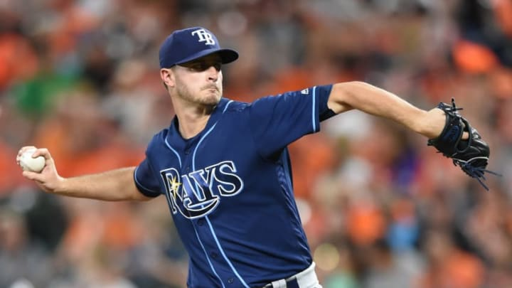 BALTIMORE, MD - SEPTEMBER 23: Jake Odorizzi #23 of the Tampa Bay Rays pitches in the first inning during a baseball game against the Baltimore Orioles at Oriole Park at Camden Yards on September 23, 2017 in Baltimore, Maryland. (Photo by Mitchell Layton/Getty Images)