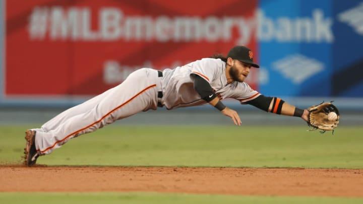LOS ANGELES, CA - SEPTEMBER 23: Shortstop Brandon Crawford