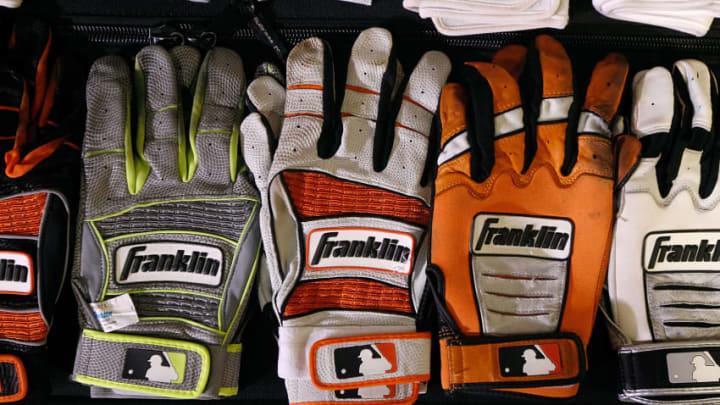 PHOENIX, AZ - SEPTEMBER 25: An assortment of Franklin batting gloves inside the San Francisco Giants dugout during a MLB game against the Arizona Diamondbacks at Chase Field on September 25, 2017 in Phoenix, Arizona. The Giants defeated the Diamondbacks 9-2. (Photo by Ralph Freso/Getty Images)