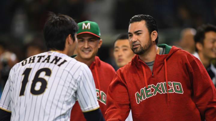 TOKYO, JAPAN - NOVEMBER 10: Designated hitter Shohei Ohtani (L) #16 of Japan and Infielder