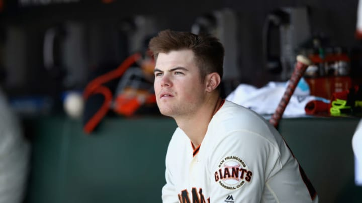 SAN FRANCISCO, CA - MAY 17: Christian Arroyo #22 of the San Francisco Giants sits in the dugout during their game against the Los Angeles Dodgers at AT&T Park on May 17, 2017 in San Francisco, California. (Photo by Ezra Shaw/Getty Images)