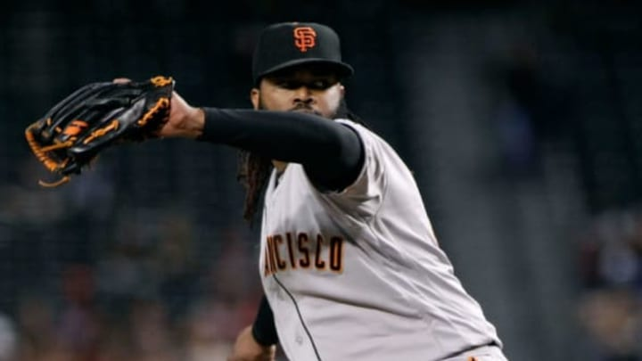 PHOENIX, AZ – SEPTEMBER 25: If Johnny Cueto returns to form, the Giants starting rotation should be a strength in 2018. (Photo by Ralph Freso/Getty Images)