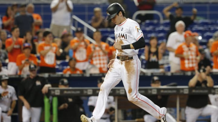 MIAMI, FL - SEPTEMBER 20: Christian Yelich #21 of the Miami Marlins scores against the New York Mets at Marlins Park on September 20, 2017 in Miami, Florida. (Photo by Joe Skipper/Getty Images)