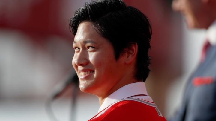 ANAHEIM, CA - DECEMBER 09: Shohei Ohtani speaks onstage during a press conference introducing Ohtani to the Los Angeles Angels of Anaheim at Angel Stadium of Anaheim on December 9, 2017 in Anaheim, California. (Photo by Josh Lefkowitz/Getty Images)