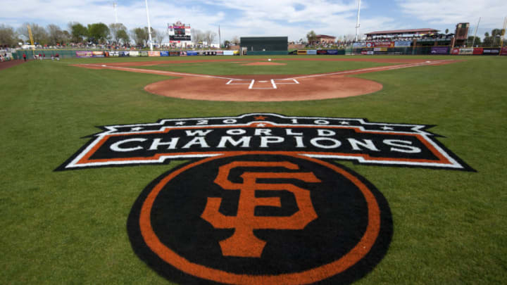 SCOTTSDALE, AZ - FEBRUARY 25: A general view of the painted logo of the World Champion San Francisco Giants behind home plate before a game played between the San Francisco Giants and the Arizona Diamondbacks at Scottsdale Stadium on February 25, 2011 in Scottsdale, Arizona. (Photo by Rob Tringali/Getty Images)