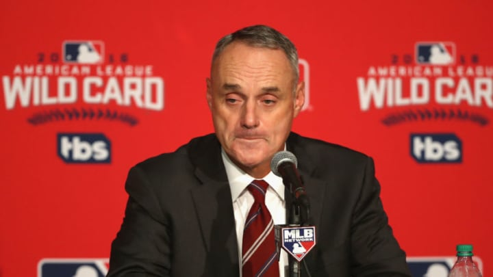 TORONTO, ON - OCTOBER 04: Commissioner of Baseball Rob Manfred reacts during a press conference prior to the American League Wild Card game between the Toronto Blue Jays and the Baltimore Orioles at Rogers Centre on October 4, 2016 in Toronto, Canada. (Photo by Tom Szczerbowski/Getty Images)