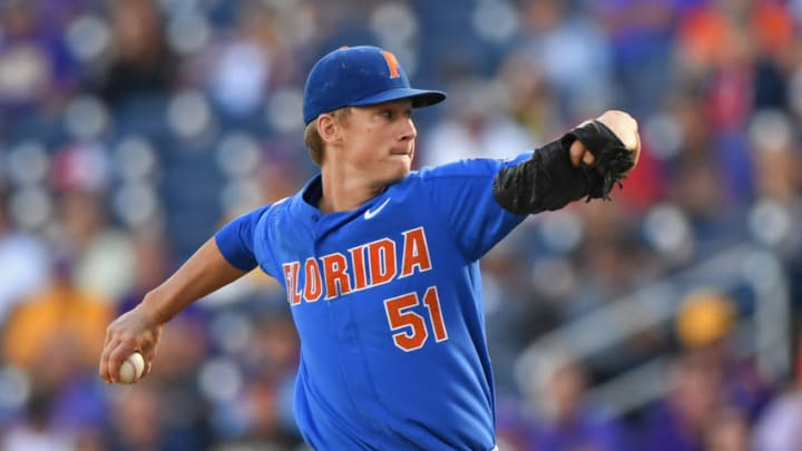 Omaha, NE - JUNE 26: Pitcher Brady Singer #51 of the Florida Gators delivers a pitch against the LSU Tigers in the first inning during game one of the College World Series Championship Series on June 26, 2017 at TD Ameritrade Park in Omaha, Nebraska. (Photo by Peter Aiken/Getty Images)