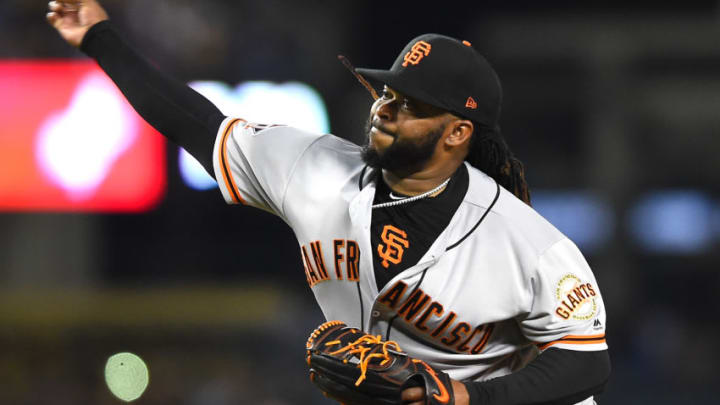 LOS ANGELES, CA - MARCH 30: Johnny Cueto #47 of the San Francisco Giants in the second inning inning of the game against the Los Angeles Dodgers at Dodger Stadium on March 30, 2018 in Los Angeles, California. (Photo by Jayne Kamin-Oncea/Getty Images)