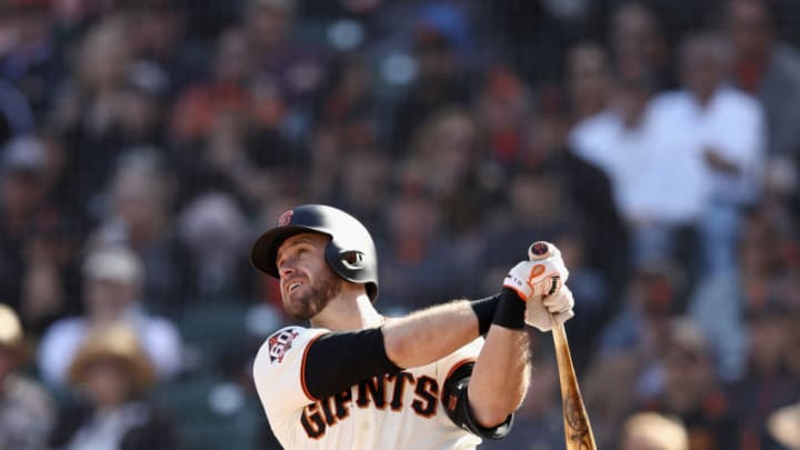 SAN FRANCISCO, CA - APRIL 03: Evan Longoria #10 of the San Francisco Giants hits a two-run home run against the Seattle Mariners in the seventh inning at AT&T Park on April 3, 2018 in San Francisco, California. (Photo by Ezra Shaw/Getty Images)