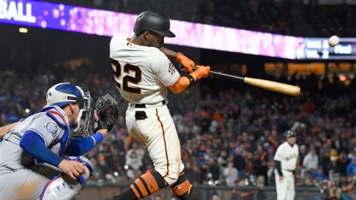 SAN FRANCISCO, CA - APRIL 07: Andrew McCutchen #22 of the San Francisco Giants hits a walk-off three-run homer to defeat the Los Angeles Dodgers 7-5 in the bottom of the 14th inning at AT&T Park on April 7, 2018 in San Francisco, California. (Photo by Thearon W. Henderson/Getty Images)