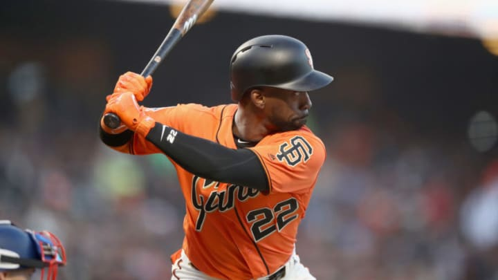 SAN FRANCISCO, CA - APRIL 27: Andrew McCutchen #22 of the San Francisco Giants bats against the Los Angeles Dodgers at AT&T Park on April 27, 2018 in San Francisco, California. (Photo by Ezra Shaw/Getty Images)