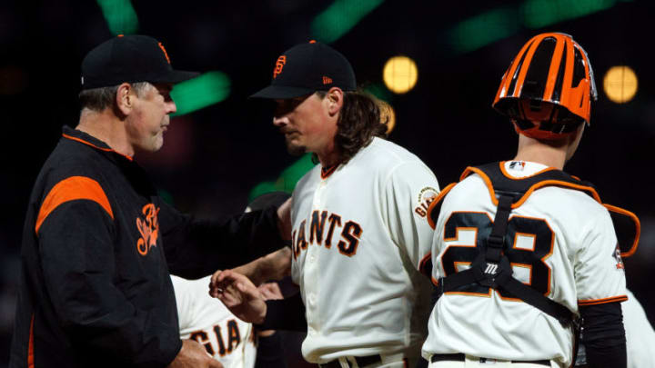 SAN FRANCISCO, CA - MAY 17: Jeff Samardzija #29 of the San Francisco Giants is relieved by manager Bruce Bochy #15 during the seventh inning against the Colorado Rockies at AT&T Park on May 17, 2018 in San Francisco, California. (Photo by Jason O. Watson/Getty Images)
