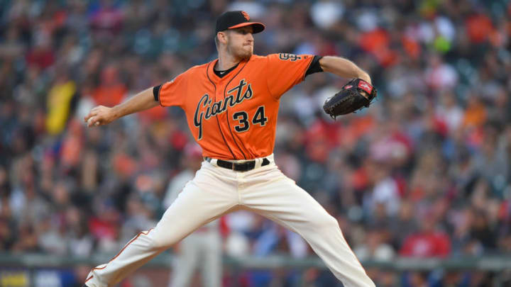 SAN FRANCISCO, CA - JUNE 01: Chris Stratton #34 of the San Francisco Giants pitches against the Philadelphia Phillies in the top of the second inning at AT&T Park on June 1, 2018 in San Francisco, California. (Photo by Thearon W. Henderson/Getty Images)