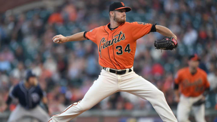 SAN FRANCISCO, CA - JUNE 22: Chris Stratton #34 of the San Francisco Giants pitches against the San Diego Padres in the top of the first inning at AT&T Park on June 22, 2018 in San Francisco, California. (Photo by Thearon W. Henderson/Getty Images)