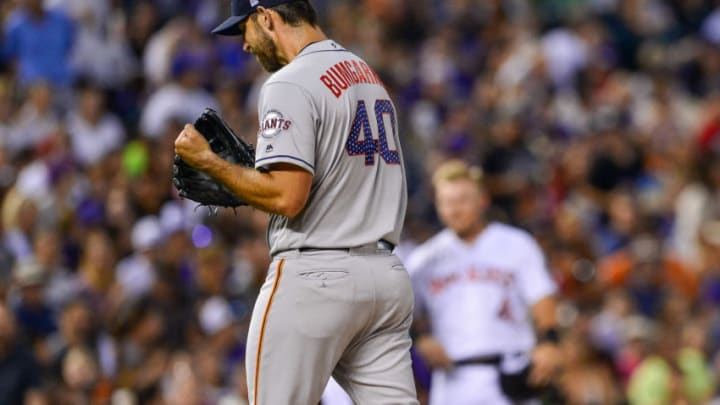 DENVER, CO - JULY 2: Madison Bumgarner #40 of the San Francisco Giants reacts after being relieved with the bases loaded in the seventh inning of a game against the Colorado Rockies at Coors Field on July 2, 2018 in Denver, Colorado. (Photo by Dustin Bradford/Getty Images)