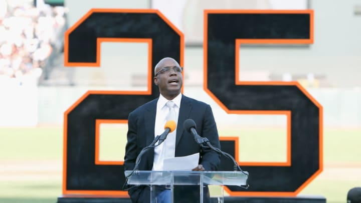 SAN FRANCISCO, CA - AUGUST 11: Former San Francisco Giants player Barry Bonds speaks at a ceremony to retire his #25 jersey at AT&T Park on August 11, 2018 in San Francisco, California. (Photo by Lachlan Cunningham/Getty Images)