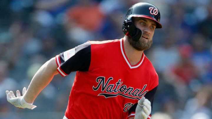 NEW YORK, NY - AUGUST 26: Bryce Harper #34 of the Washington Nationals runs out his eighth inning pinch hit three run double against the New York Mets at Citi Field on August 26, 2018 in the Flushing neighborhood of the Queens borough of New York City. Players are wearing special jerseys with their nicknames on them during Players' Weekend. (Photo by Jim McIsaac/Getty Images)