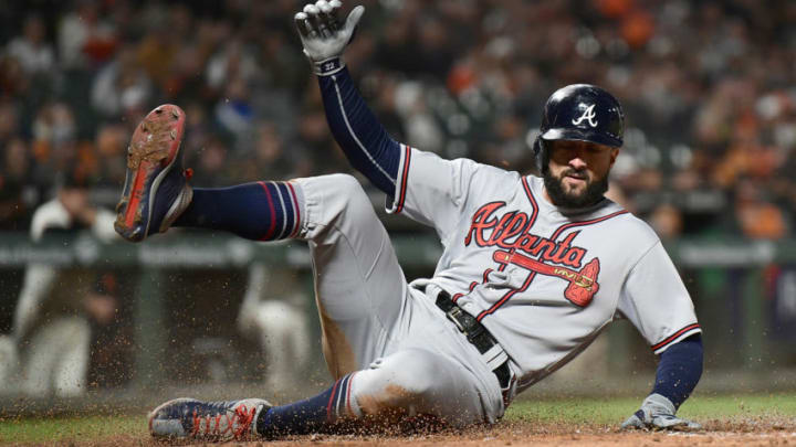 SAN FRANCISCO, CA - SEPTEMBER 11: Nick Markakis #22 of the Atlanta Braves scores on a sacrifice fly from Ender Inciarte #11 against the San Francisco Giants in the top of the fourth inning at AT&T Park on September 11, 2018 in San Francisco, California. (Photo by Thearon W. Henderson/Getty Images)