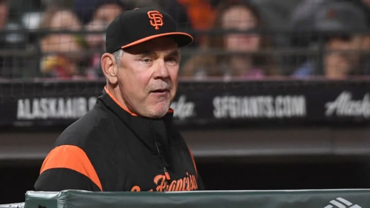 SAN FRANCISCO, CA - SEPTEMBER 14: Manager Bruce Bochy #15 of the San Francisco Giants looks on from the dugout against the Colorado Rockies in the bottom of the eighth inning at AT&T Park on September 14, 2018 in San Francisco, California. (Photo by Thearon W. Henderson/Getty Images)